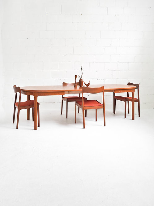 Danish Teak Oval Dining Table with Extension Leaves
