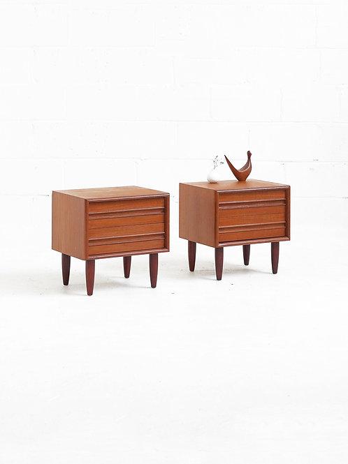 Pair of Teak 2 Drawer Nightstands