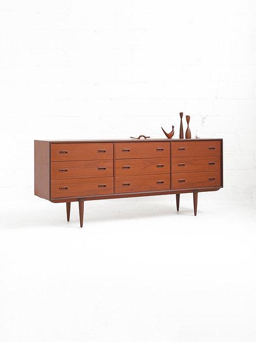 Teak 9 Drawer Dresser for R. Huber Co.