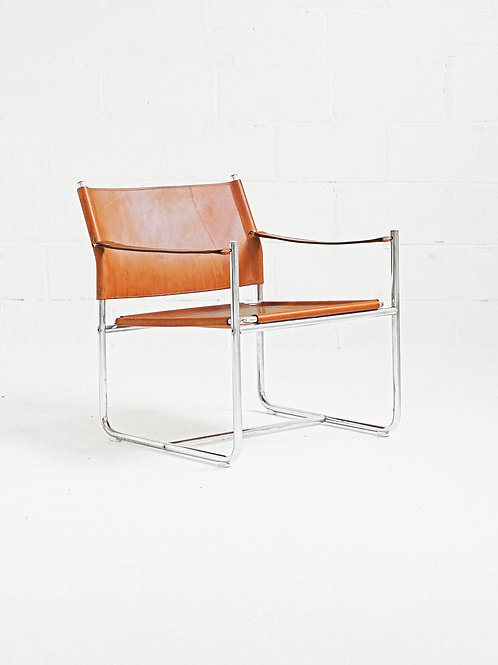 Chrome and Leather Amiral Easy Chair by Karin Mobring for IKEA