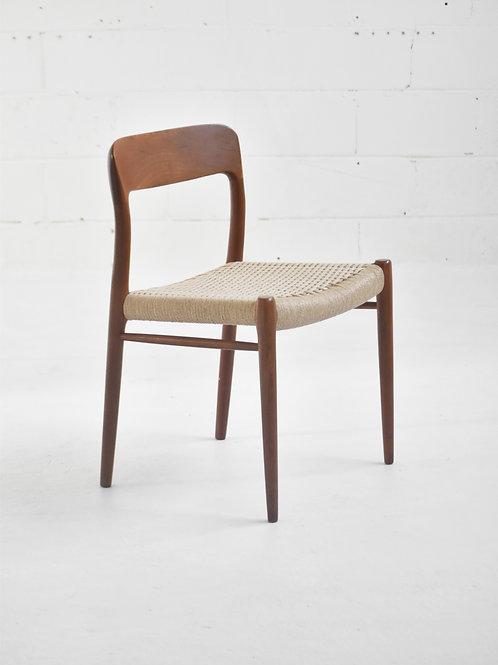 Set of 4 Danish Teak Model 75 Dining Chairs by Niels Otto Møller