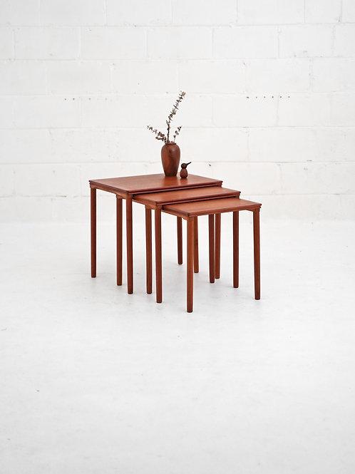 Set of Teak Nesting Tables E. W. Bach for Møbelfabrikken Toften