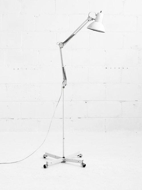 Vintage Medical Lab Rolling Floor Lamp in White
