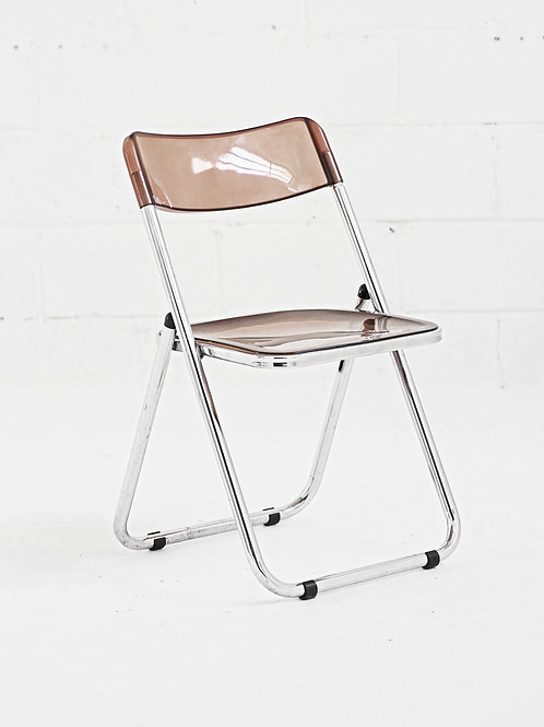 Vintage Chrome and Tinted Lucite Folding Chair