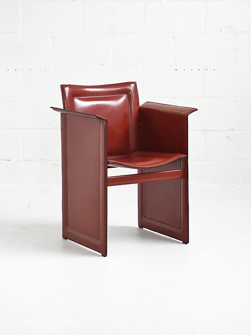 Leather Solaria Lowback Arm Chair in Wine for Arrben Italy