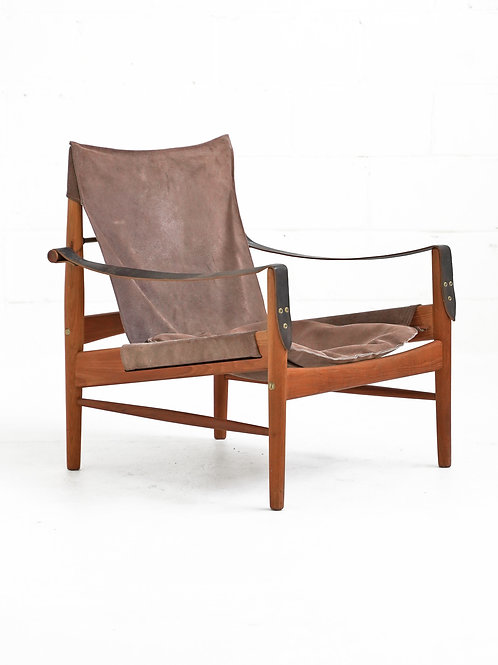 Teak and Suede Easy Chair by Hans Olsen for Viska Möbler