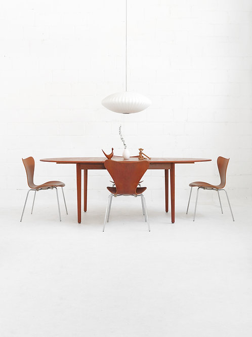 Danish Teak Dining Table with Extension Leaf