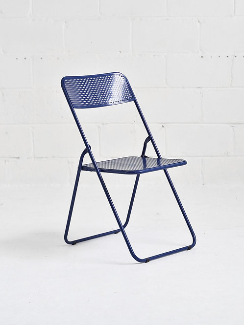 Vintage Folding Mesh Chair in Blue