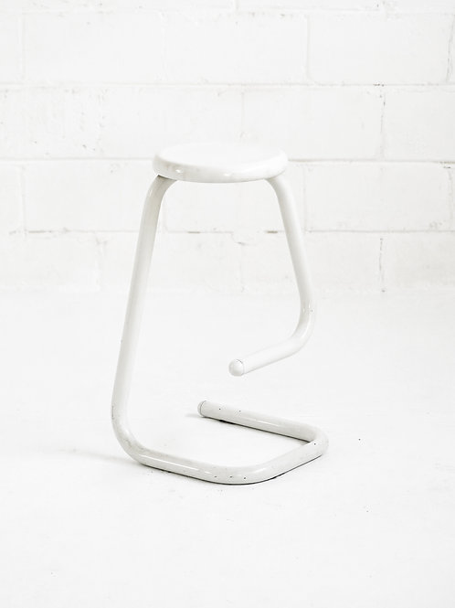 Vintage Metal Tubular Paper Clip Counter Stool in White