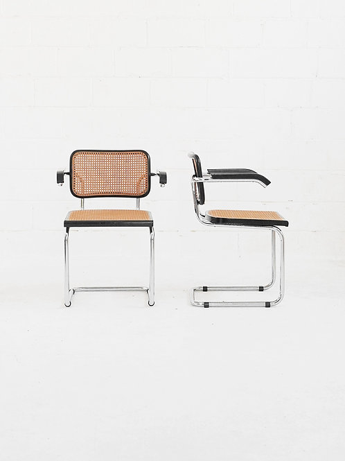 Set of 4 Vintage Cesca Arm Chairs in the style of Marcel Breuer