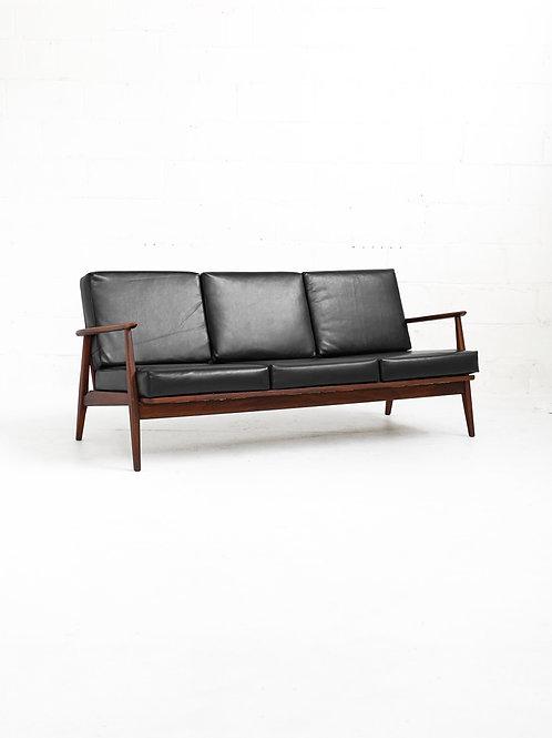 Walnut Lounge Sofa in Black