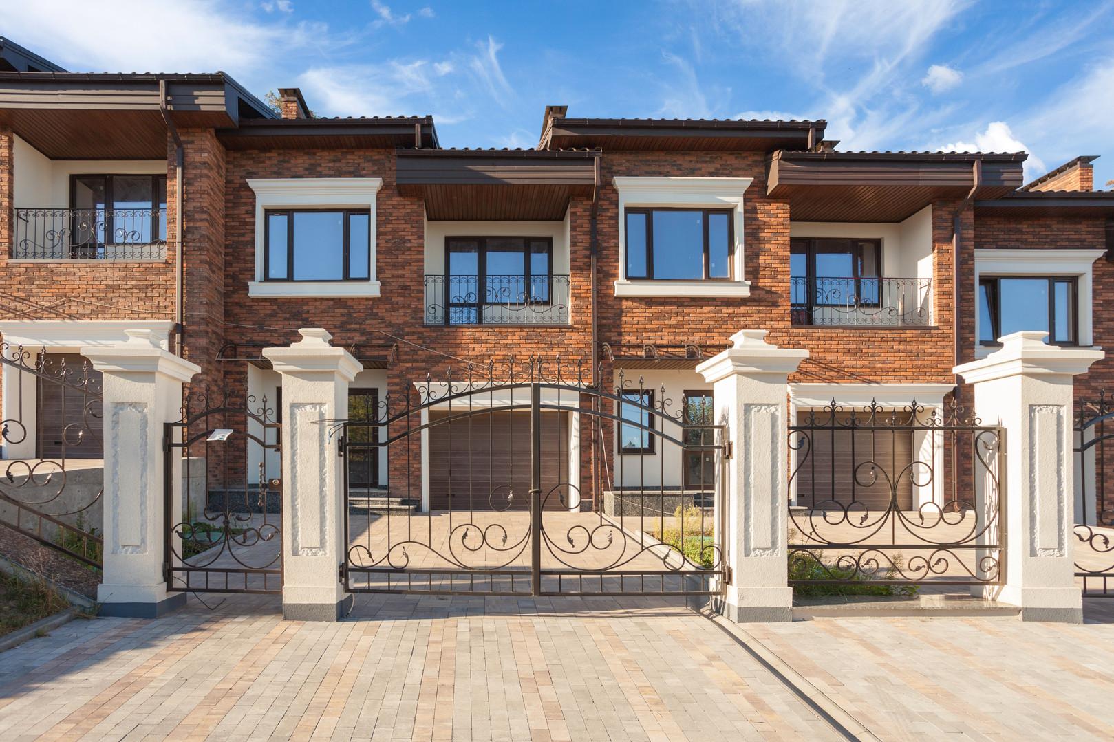 Modern brick house with plastic windows,