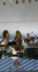 German polka band playing in an Oktoberfest Tent.