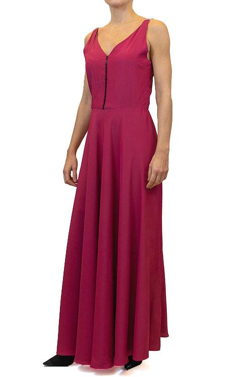 Vestido longo pink com decote V