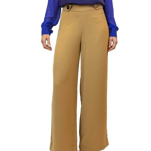 Pantalona em crepe mostarda
