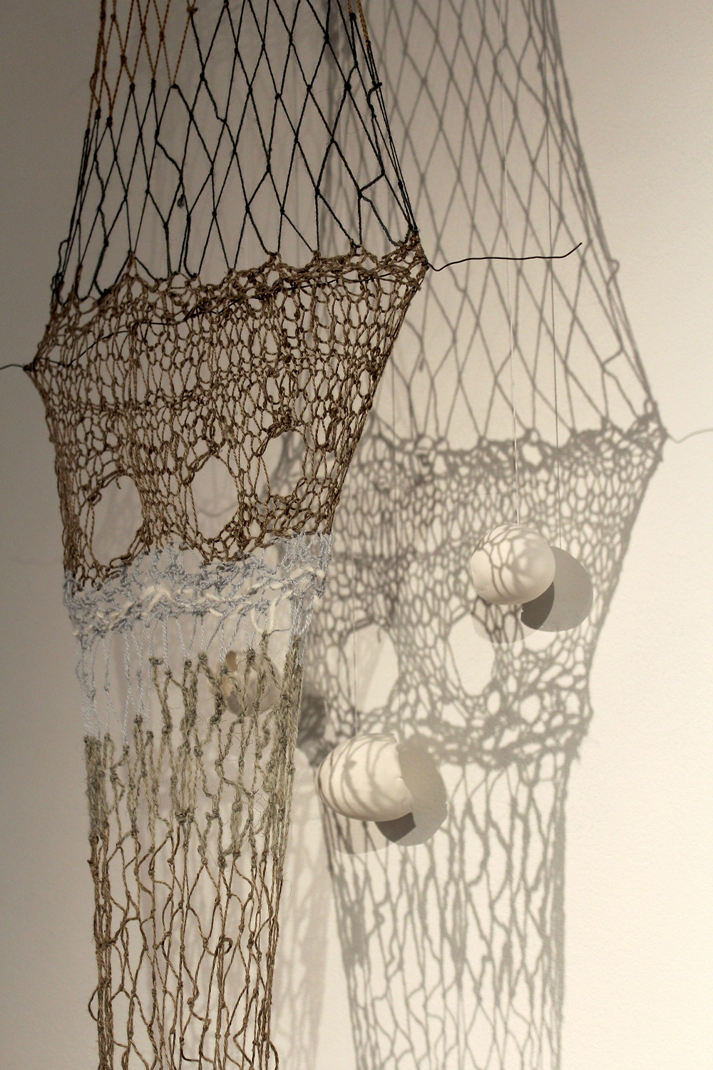 Detail from The Crossing (800 miles) - ceramic, linen, wool, silk, stone, wire, light, sound