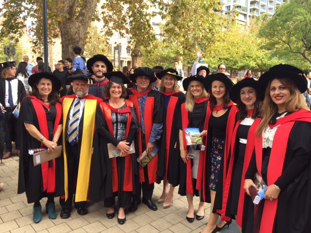Graduates and supervisors from the Marine group with the Dean of Science