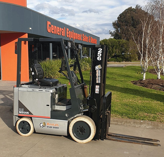 NISSAN 2500KG ELECTRIC CONTAINER MAST FORKLIFT