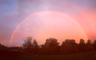 Rainbow at Sunset view from the barn