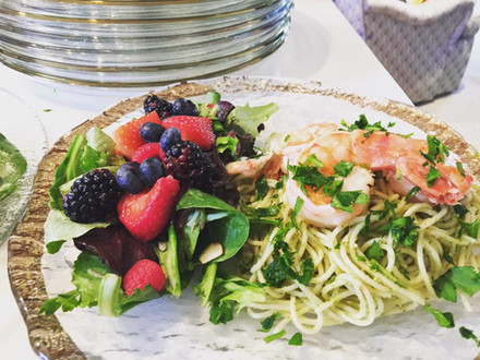 Pesto Bucatini with Tiger Shrimp and Mixed Berry Greens