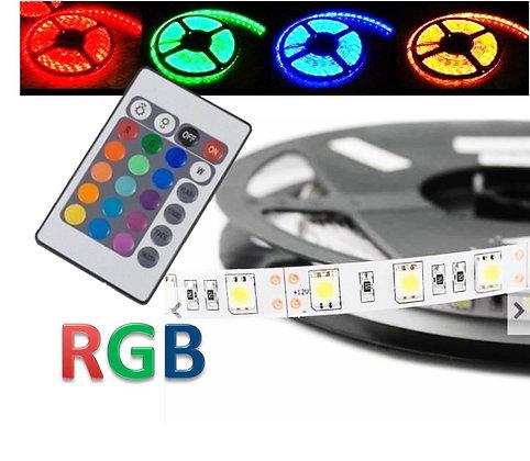 Fita Led RGB 3528 color c/ controle rolo 5mt