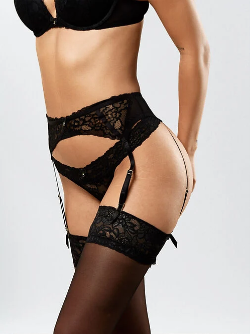 Sexy Lace Suspender Belt in Black by AS