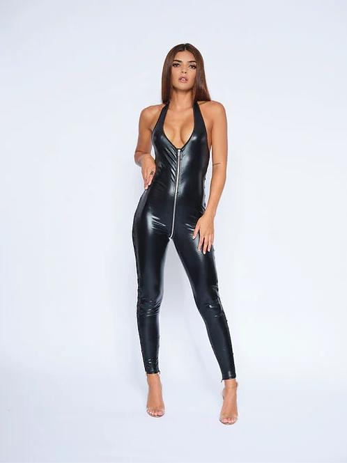 Elektra Wet Look Jumpsuit