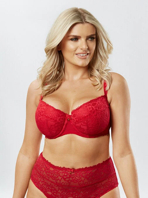 Sexy Lace Balcony Bra in Red by AS