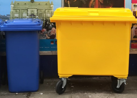 Yellow and blue bins