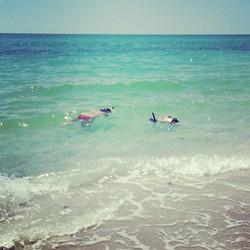 Aiden & Liz Shirey snorkeling! Beautiful day at the beach!