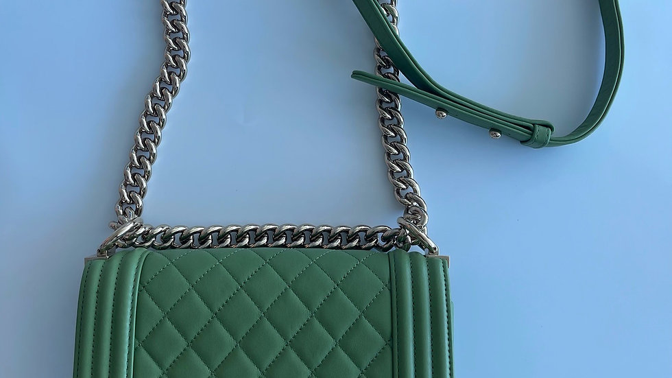 Green Chanel Quilted Leather Mini Boy Flap Bag