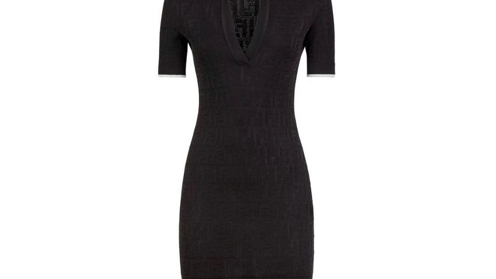 Fendi FF Motif Pattern Polo Dress