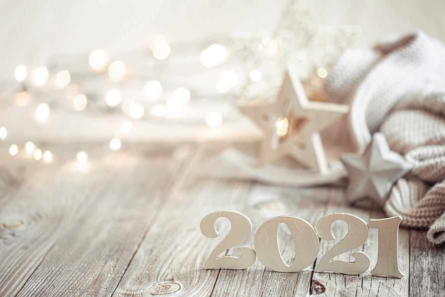 New year 2021 holiday background with de