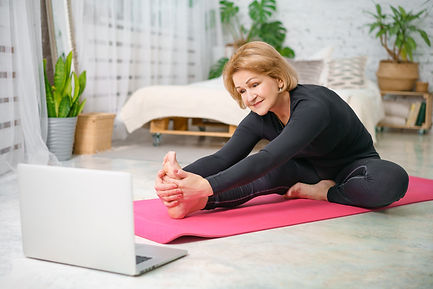 Fitness training online, senior woman at