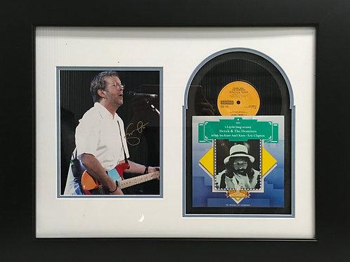 """Eric Clapton photo & """"Layla"""" LP 45 *Signed"""