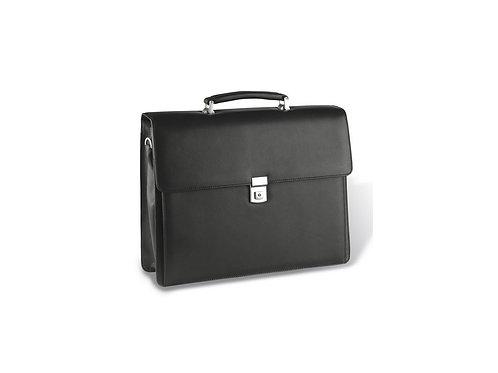 klassische schwarze Eurostyle Lederaktentasche  mit Griff geschlossen