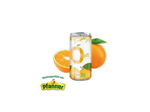 Bio Orangensaft von Pfanner mit aufgeschnittener Orange