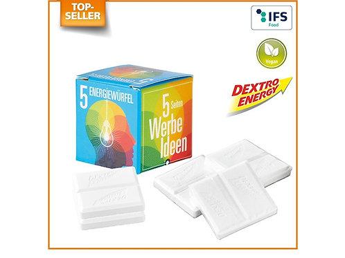 """Kartonverpackung Würfel mit Dextro Energy mit Werbung """"Werbeideen"""""""