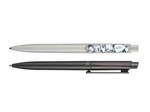 einfarbige Kugelschreiber in weiß und schwarz mit bunten Drückern