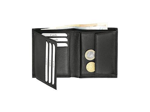 kleine schwarze Eurostyle Kleinbörse aus Rindleder geöffnet