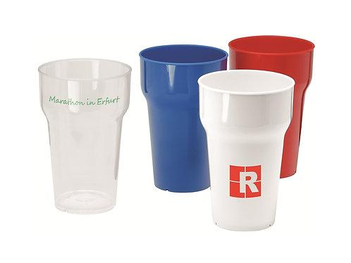 Kunststoffbecher in weiß, rot und blau mit Kundenlogo