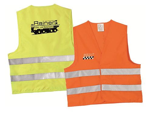 Warnwesten in orange und gelb mit Kundendruck