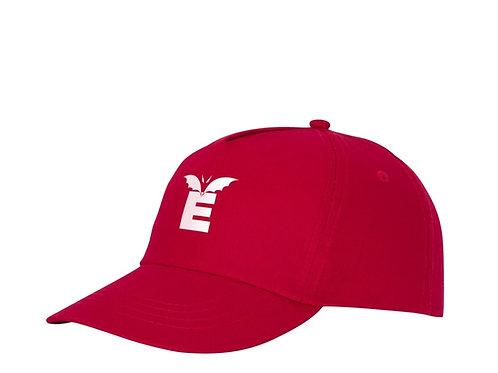 Kappe in rot mit 1-farbigem Druck in weiß