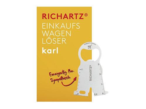 flacher Einkaufswagenlöser für Schlüsselbund mit gelber Karte