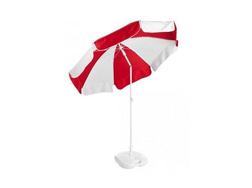 Sonnenschirm rot /weiß mit weißem Ständer