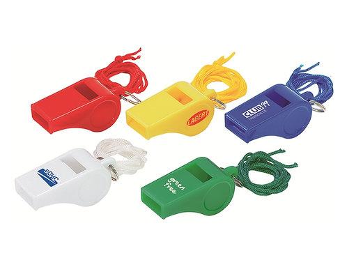Trillerpfeife aus Plastik mit Kordel in fünf Farben