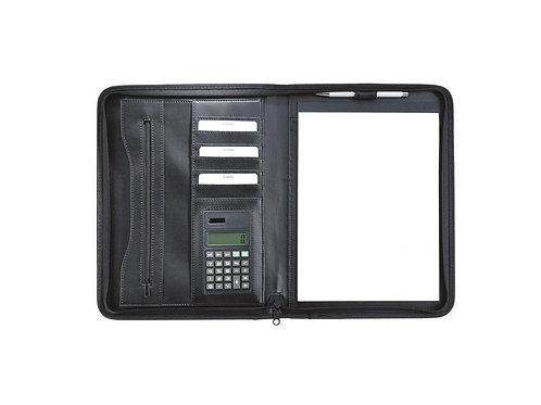 schwarze Eurostyle Schreibmappe mit Taschenrechner und Block