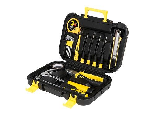 geöffneter Werkzeugkoffer schwarz/gelb mit 16 Werkzeugen