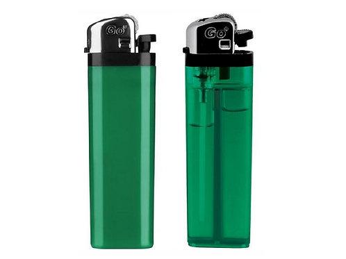 GO Einwegfeuerzeug - vollfarbig oder transparent in Grün