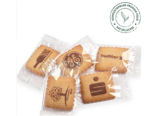 fünf Butterkekse mit braunem Logodruck Lebensmittelfarbe in Einzelverpackung